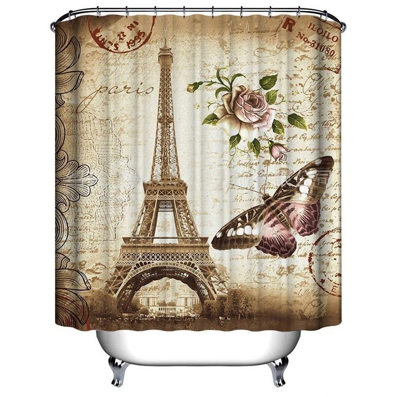 FunnyBathroom™ Paris Bathroom Shower Curtains Eiffel Tower Waterproof Fabric & Hooks Set - Shopcytee