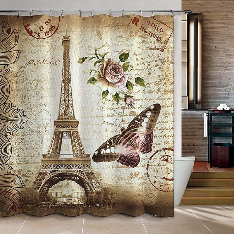 FunnyBathroom™ Paris Bathroom Shower Curtains Eiffel Tower Waterproof Fabric & Hooks Set