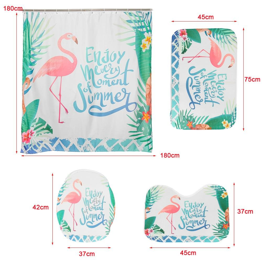 FunnyBathroom™ Pink Flamingo Shower Curtain Sets 3 PCS Bathroom Carpet Set Toilet Cover Polyester Fabric - Shopcytee