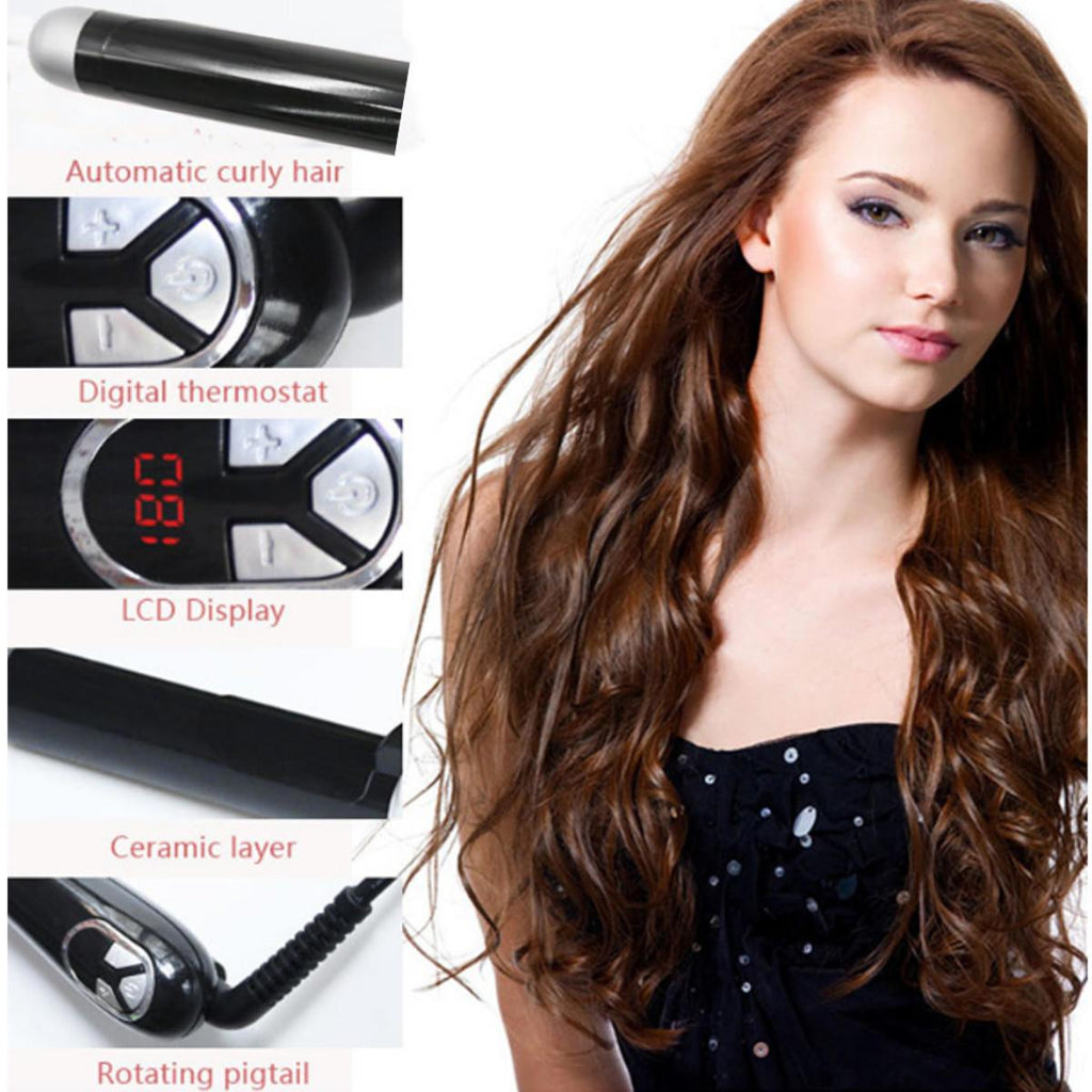 HairUp™ Hair Curler Curling Wand Iron Rotatable Hair Styler Wet Dry Tongs Curly Hair Styling Tools Temperature Adjust - Shopcytee