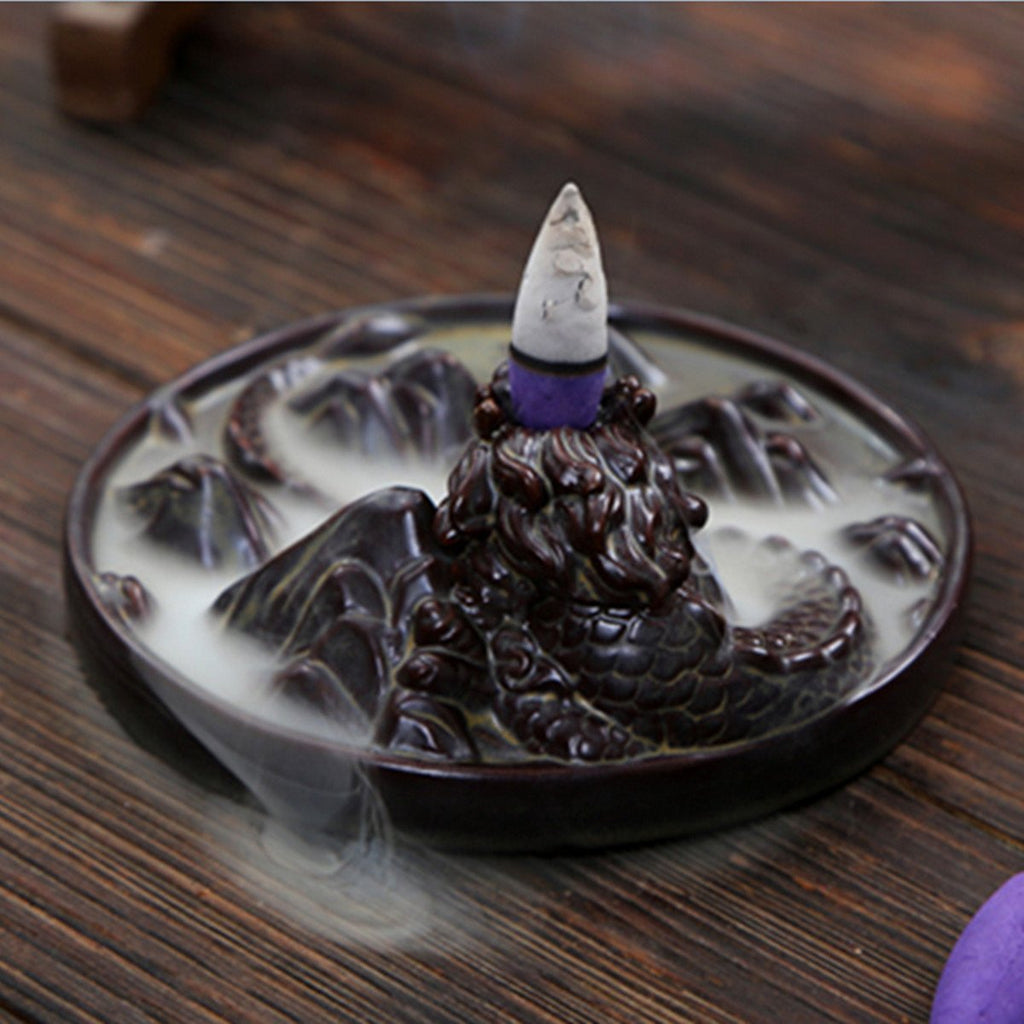 IncenseWaterfall™ Porcelain Dragon Incense Cone Burner Fountain - Shopcytee