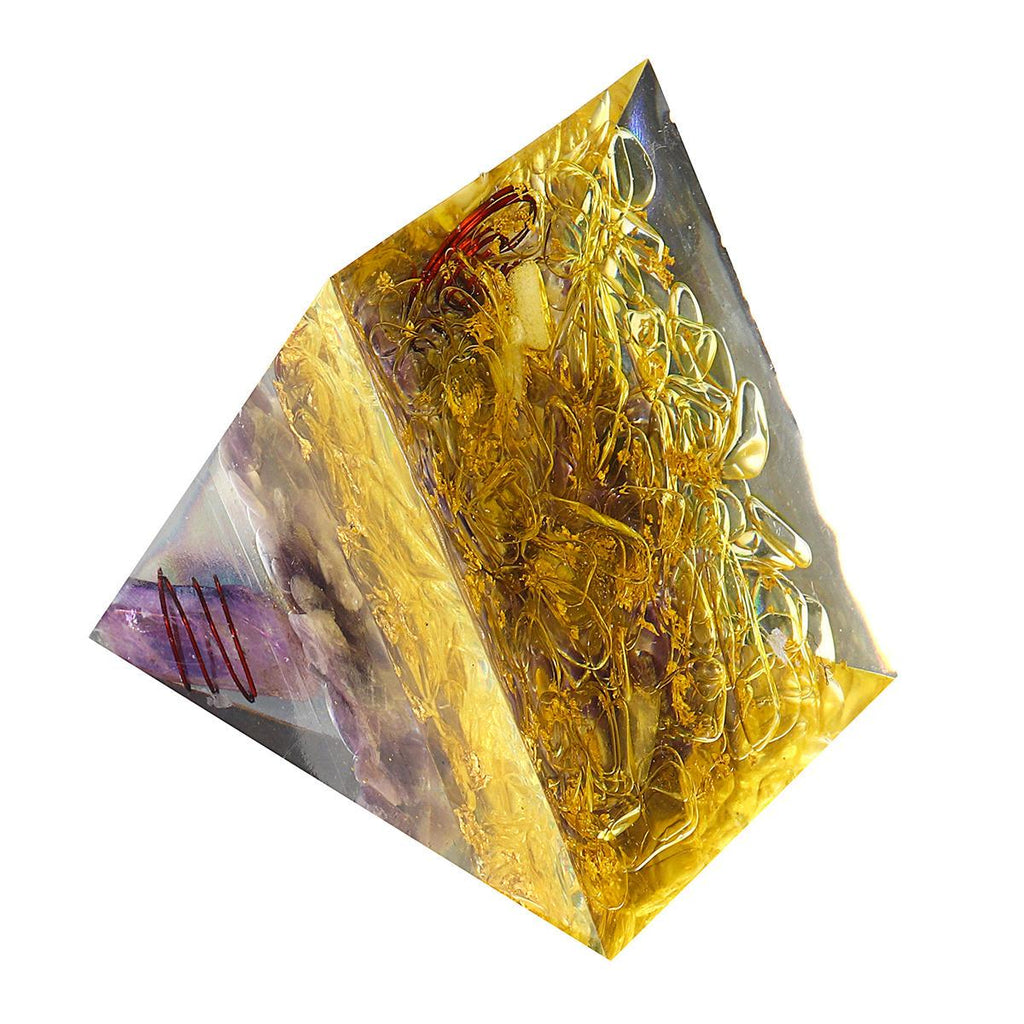 Purple Yellow Orgonic Pyramid Energy Generator Yoga Reiki Meditation Gemstone Healing Crystal Decorations - Shopcytee
