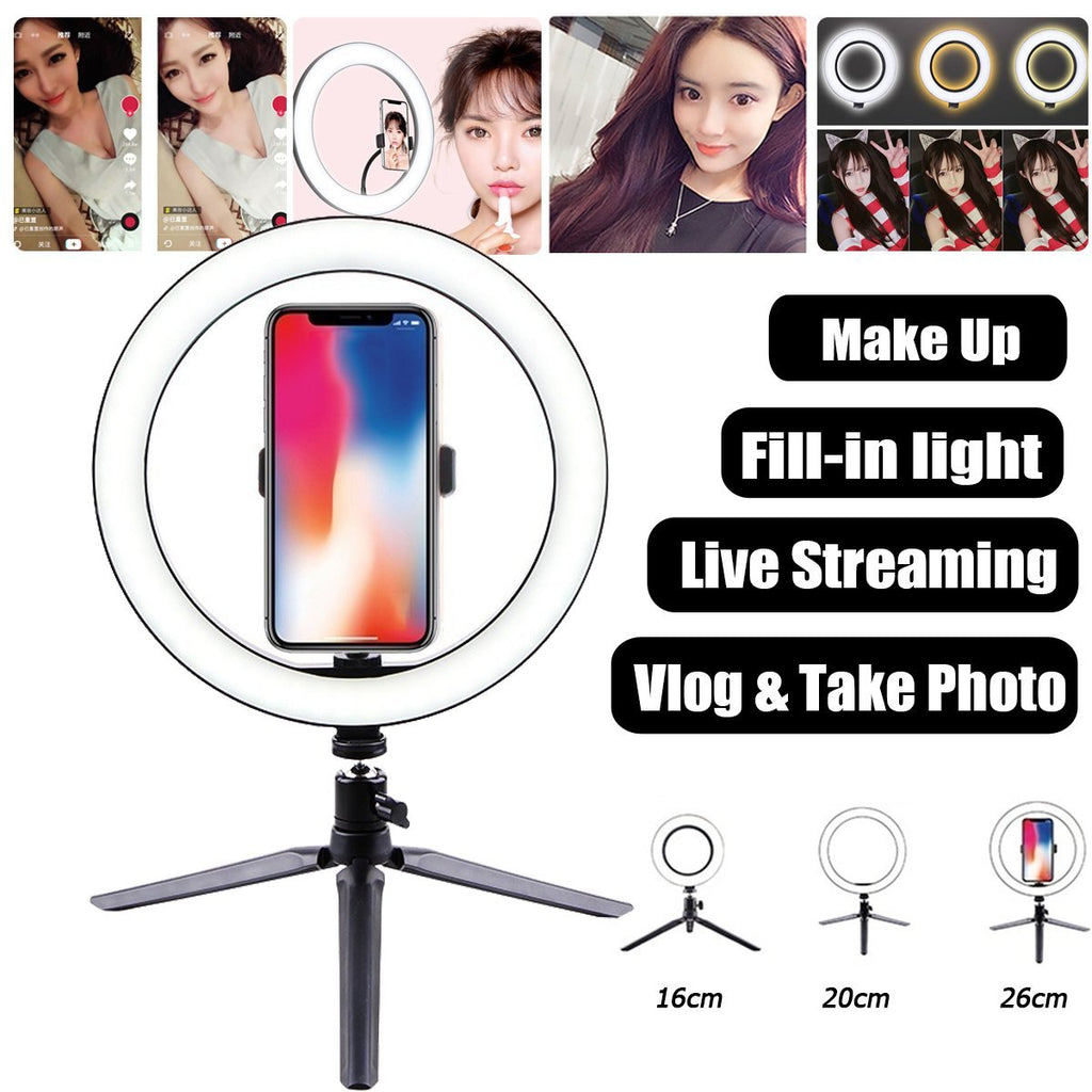 VlogMe™ Portable Ring LED Light for Vlogger and Makeup Phone Holder Lamp - Shopcytee