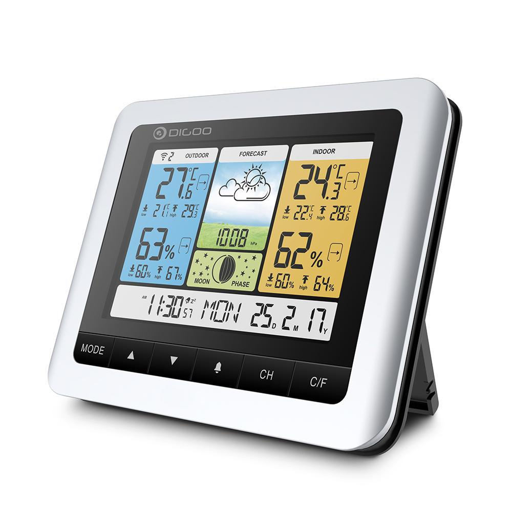 WeatherControl™ Home Forecast Thermometer Barometer Indoor OutdoorColor Wireless Sensor Clock