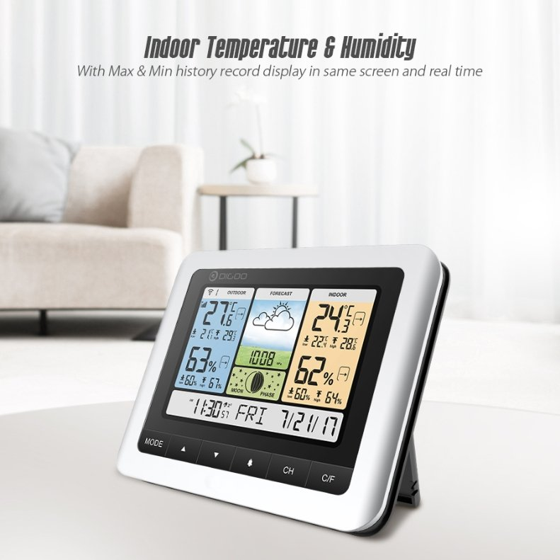 WeatherControl™ Home Forecast Thermometer Barometer Indoor OutdoorColor Wireless Sensor Clock - Shopcytee