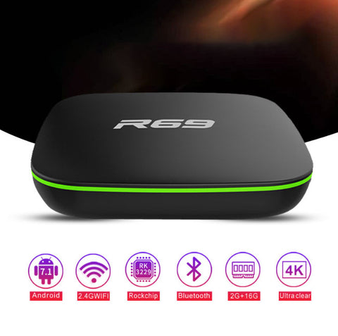 TV Box 1GB 8GB - R69 Smart Android 7.1 - Quad-Core 2.4G Wifi - Set Top Box 1080P HD Supporto film 3D Media player