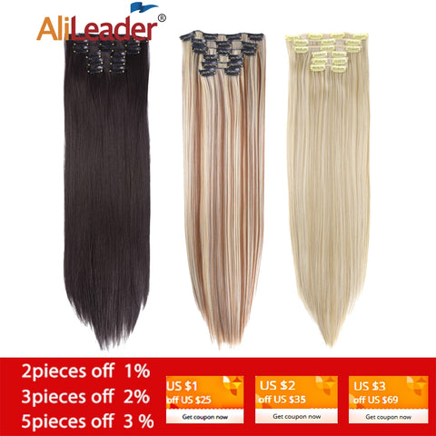 "Alileader 6Pcs / Set 22 ""Hairpiece 140G Straight 16 clip in falsi capelli Clip sintetica in extension per capelli resistente al calore - Thiago1978"
