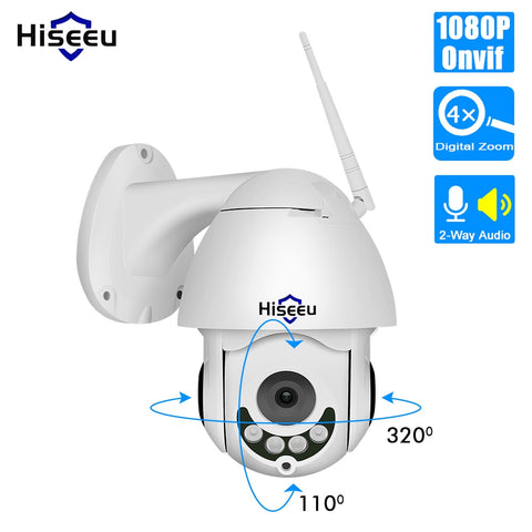 Hiseeu 1080P Wireless PTZ Speed Dome Telecamera IP WiFi Outdoor bidirezionale Audio CCTV Sicurezza Video Network Sorveglianza P2P