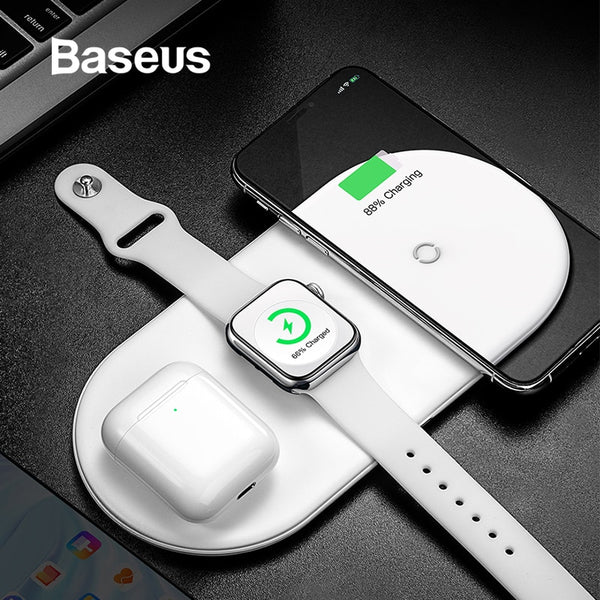 Baseus Caricabatterie wireless per iPhone X XS MAX XR 8 Fast Wireless Full load 3 in 1 Pad di ricarica per Airpods 2019 Apple Watch 4 32 - Thiago1978