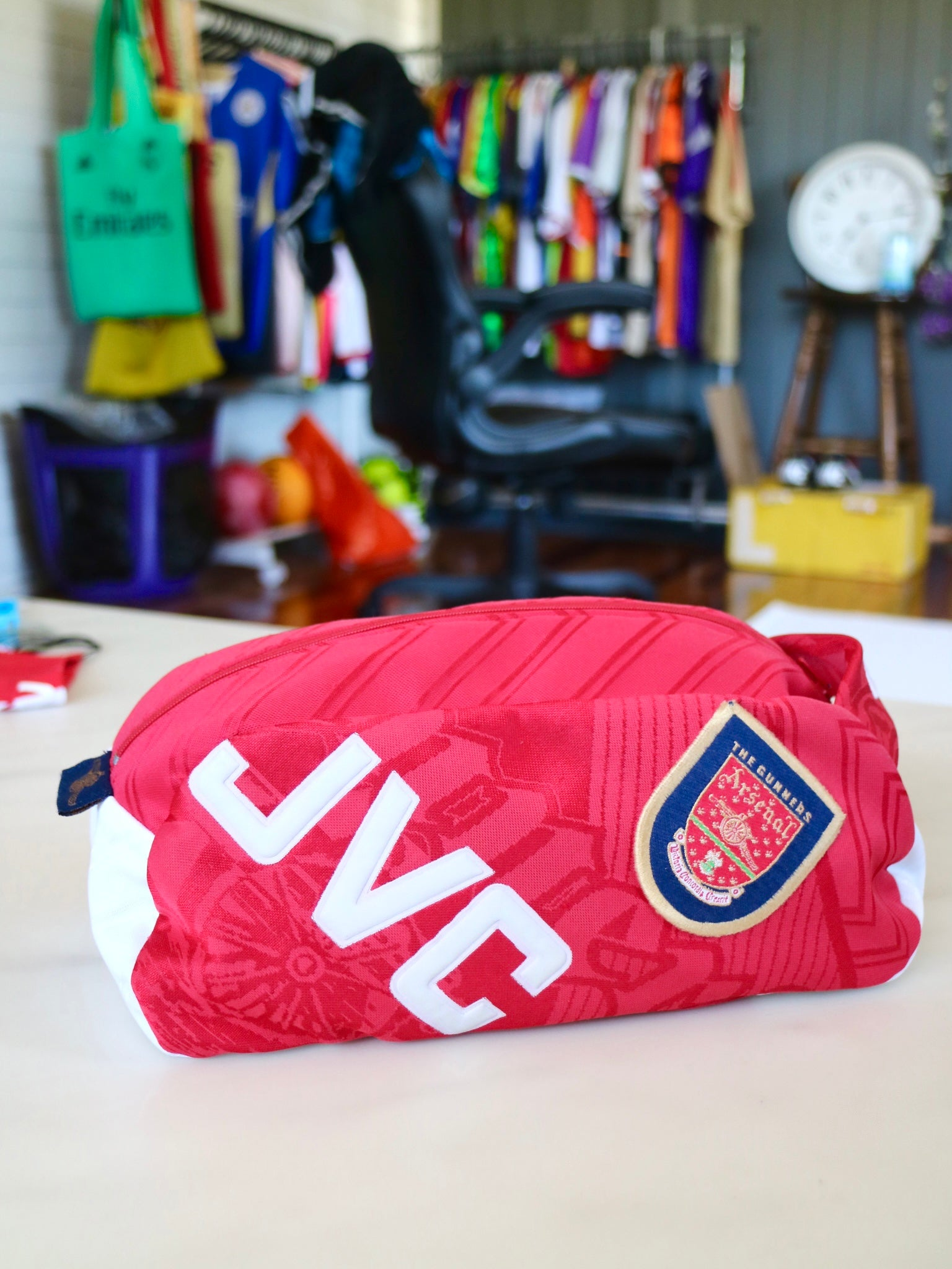 upcycled arsenal wash bag for hector bellerin