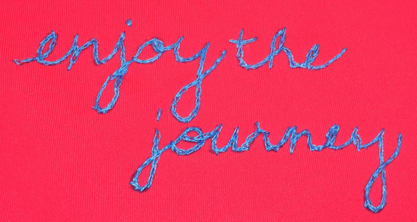 neon coral enjoy the journey long luxe tank