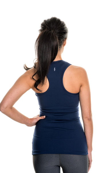 navy balance long luxe tank