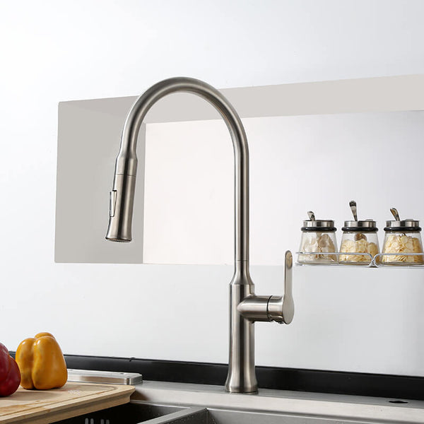 Single Handle Kitchen Faucet | Stainless Steel Pull Down Kitchen Sink Faucet | Spray Kitchen Faucet With Flexible Hose - WELQUEEN