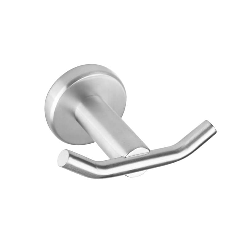 SUS304 Stainless Steel Robe Hook | Round Style Wall Mounted Towel Hook | Bathroom Double Towel Hook Holder Brush Nickel Finished - WELQUEEN