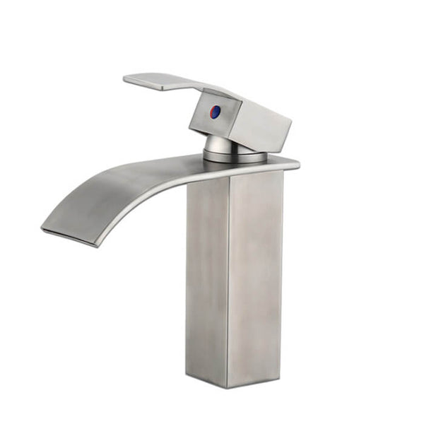 Bathroom Waterfall Basin Faucet | Single Handle Stainless Steel Lavatory Faucet | Brushed Nickel Bathroom Sink Faucets - WELQUEEN