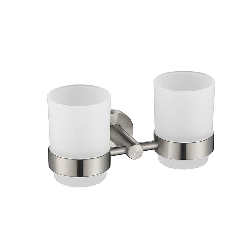Bathroom Double Cup Holder | Wall Mounted Stainless Steel Cup Holder | Round Style Bathroom Cup Holder Brush Nickel Finished - WELQUEEN
