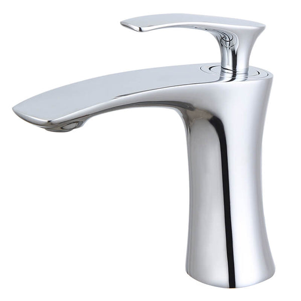 Modern Brass Basin Faucet | Single Handle Bathroom Sink Vessel Faucet | Single Hole Basin Mixer Taps Chrome Plating - WELQUEEN
