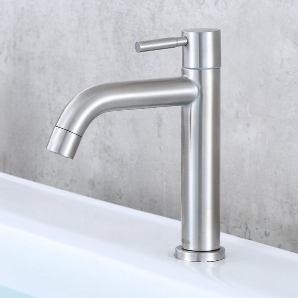 Stainless Steel Cold Water Basin Faucet | Brushed Nickel Bathroom Single Handle Bar Faucet | Single Temperature Water Bathroom Sink Faucet - WELQUEEN