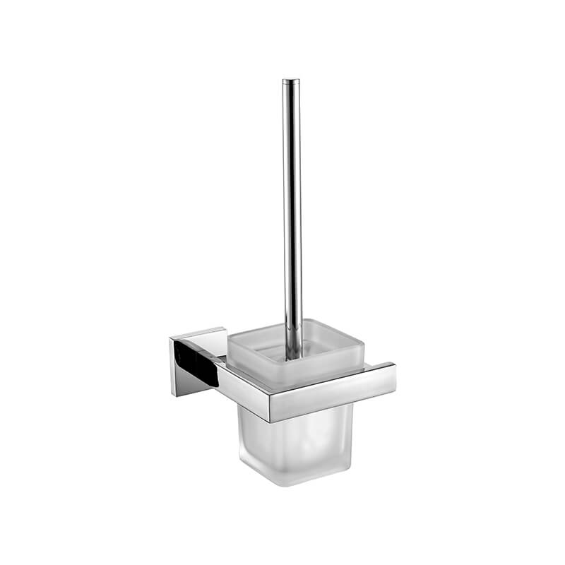 SUS304 Stainless Steel Toilet Brush Holder | Square Style Wall Mounted Toilet Brush Holder | Bathroom Toilet Brush Holder High Gloss Finished - WELQUEEN