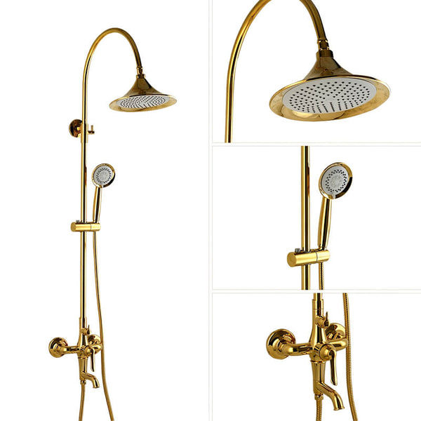 Dual Function Rain Shower System Combo Set | Brass Rainfall Shower Set | Shower Column Set Adjustable Slider Shower Elbow Included - WELQUEEN