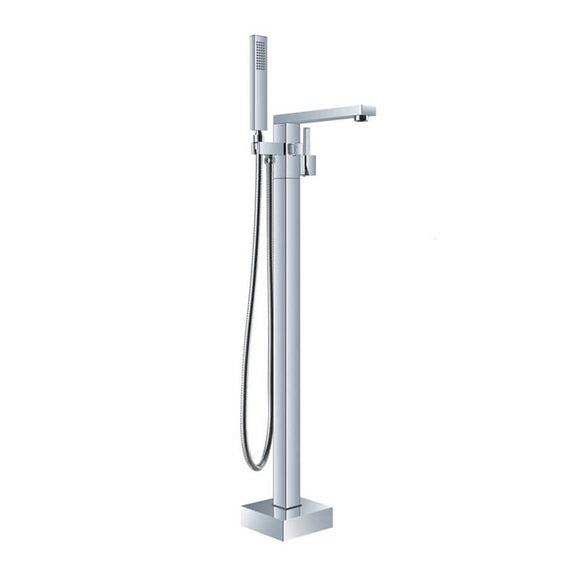Freestanding Bathtub Faucet | Tub Filler Floor Mounted Brass Bathtub Faucet | Bathtub Faucet Single Handle With Handheld Shower Chrome Plating - WELQUEEN