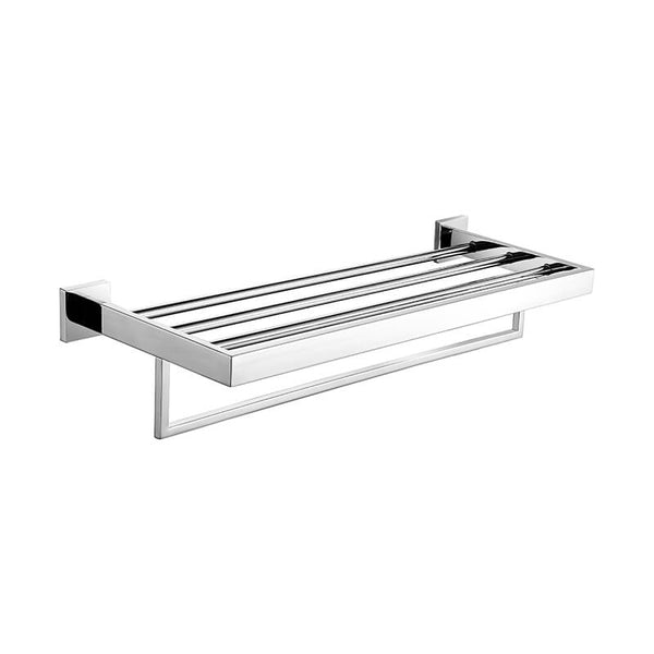 SUS304 Stainless Steel Towel Rack | Square Style Wall Mounted Towel Rack | Bathroom Towel Rack Holder High Gloss Finished - WELQUEEN