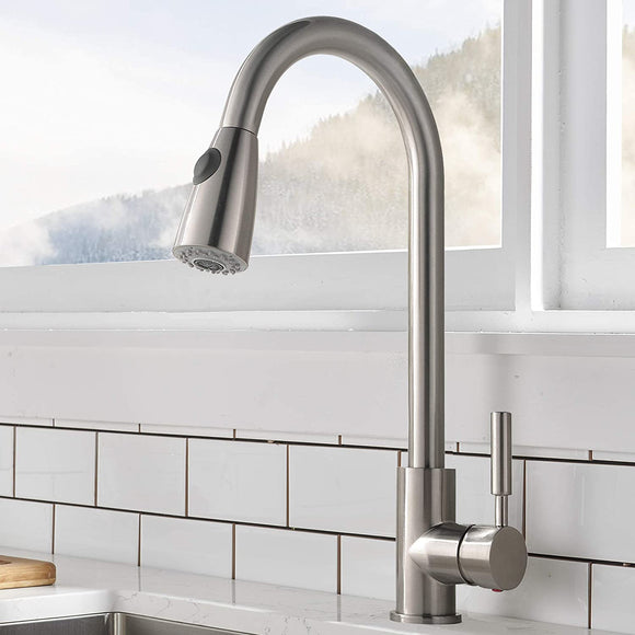 Stainless Steel Pull Down Kitchen Faucet | Single Handle High Arc Pull Out Kitchen Faucet | Swivel Single Lever Kitchen Sink Faucet - WELQUEEN