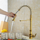 Modern Brass Single Handle Kitchen Faucet | Pull Down Sprayer Spring Kitchen Faucet | Dual Function Kitchen Sink Faucet - WELQUEEN