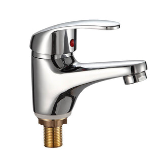 Small Solid Brass Single Handle Cold Water Basin Faucet | Single Hole Bathroom Sink Faucet | Lavatory Cold Water Basin Taps Chrome - WELQUEEN