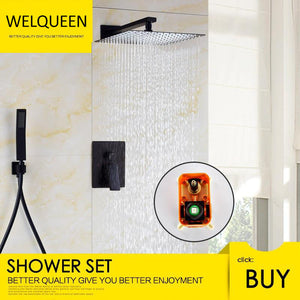 Black Shower Combo Set Stainless Steel Shower Systems with Rain Shower and Handheld Shower Trim Kit with Rough-In Valve - WELQUEEN