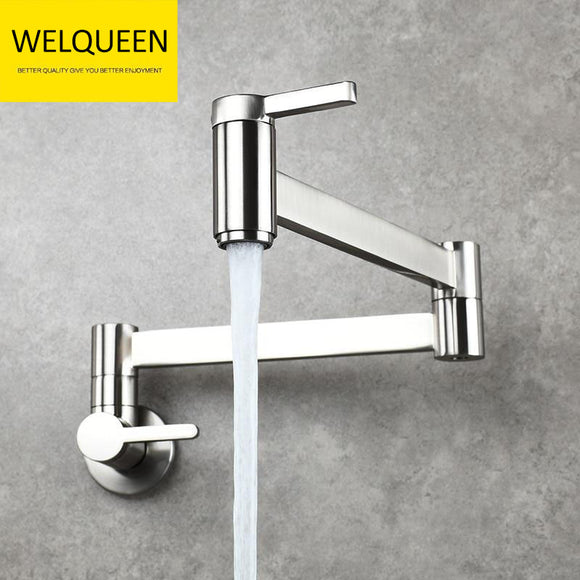Brass Kitchen Faucet Wall Mount Pot Filler Faucet 360 Rotatable Folding Lengthened with Double Joint Swing Arms Cold Water Tap - WELQUEEN