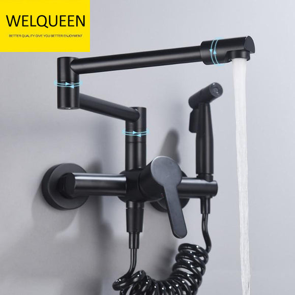 Brass Pot Filler Folding Faucet with Side Sprayer Kitchen Sink Faucet with Swing Arm and Double Function Joint - WELQUEEN