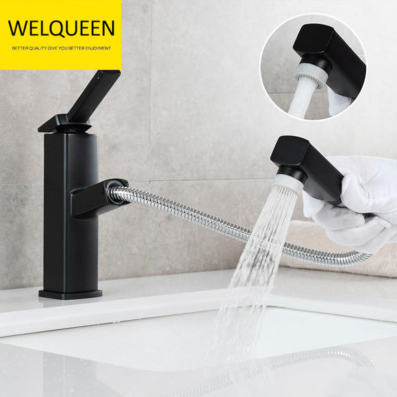 Brass Pulldown Basin Faucet with Pull Out Sprayer Single Lever Faucet for Bathroom Hot and Cold Water Faucet - WELQUEEN