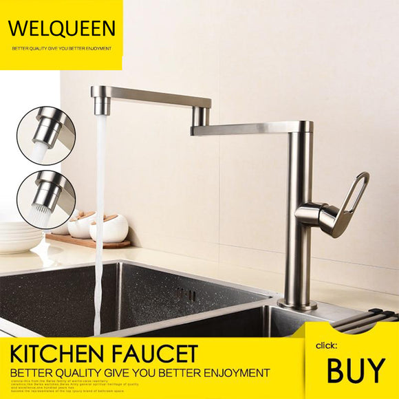 Folding Kitchen Faucet Hot and Cold Kitchen Sink Mixer Brushed Nickel Facing Rotatable Telescopic Faucet - WELQUEEN