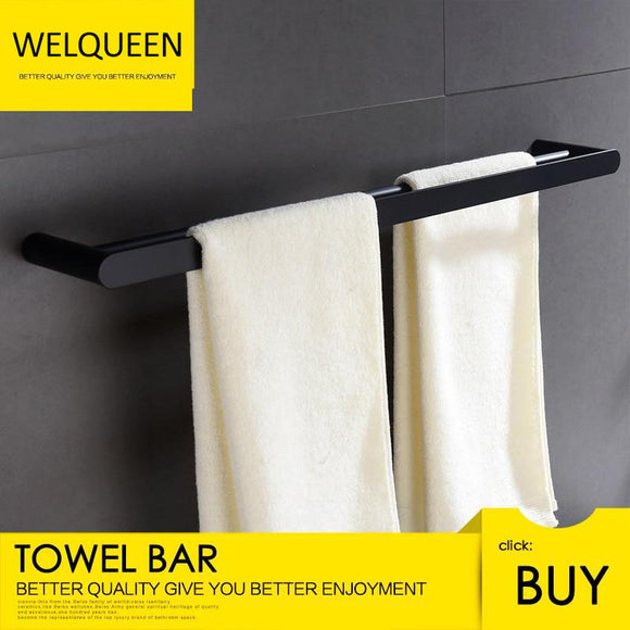 Free Shipping 304 Stainless Steel Double Pole Towel Bar Bathroom Towel Holder Wall Mounted Black Bathroom Towel Bar - WELQUEEN