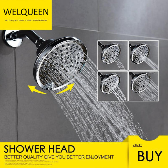 Free Shipping ABS Plastic Shower Head Wall-Mounted Filtered Shower Head with Massage Chrome 5 Jets Top Shower for Bathroom - WELQUEEN
