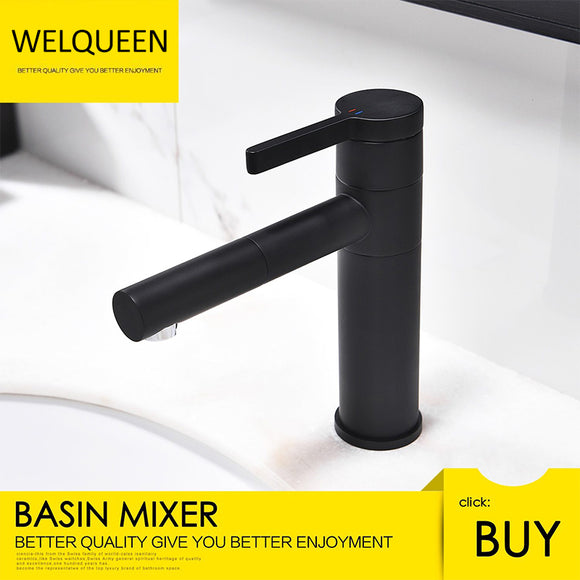 Free Shipping Black Finish Brass Deck Mount Bathroom Faucet Vanity Vessel Sinks Mixer Tap Cold And Hot Water Tap - WELQUEEN