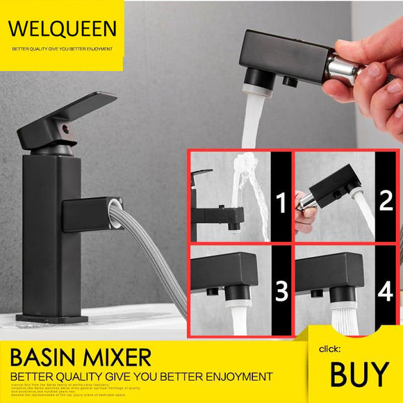 Free Shipping Brass Basin Faucet Multi-Functional Stretch Faucet Hot And Cold Water Pull Out Sink Faucet - WELQUEEN