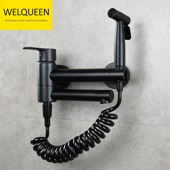 Free Shipping Brass Bathtub Faucet Set Bathroom Wall Mounted Bathtub Faucet with Bidet Sprayer for Showering - WELQUEEN