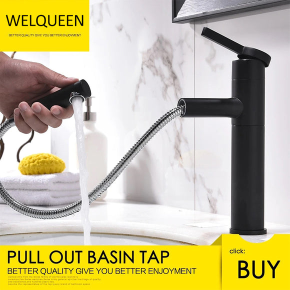 Free Shipping Brass Black Basin Faucet Bathroom Sink Faucet Pull-Out Wash Basin Sink Taps Deck Mounted 360 Degree Rotate Basin Mixer - WELQUEEN