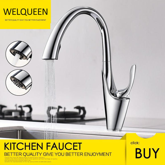 Free Shipping Brass Brushed Chrome Pull-Out Kitchen Faucets with Concealed 360 Degree Rotating Sprayer Deck Mounted Kitchen Tap - WELQUEEN