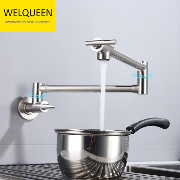 Free Shipping Brass Double Switch Folding Faucet Advanced Rotating Kitchen Faucet Wall Mounted Cold Water Tap - WELQUEEN