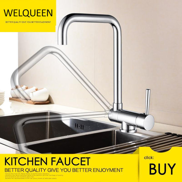 Free Shipping Brass Kitchen Tap Copper Rotating Folding Faucet Brushed Nickel Under Mounted Kitchen Sink Faucet - WELQUEEN