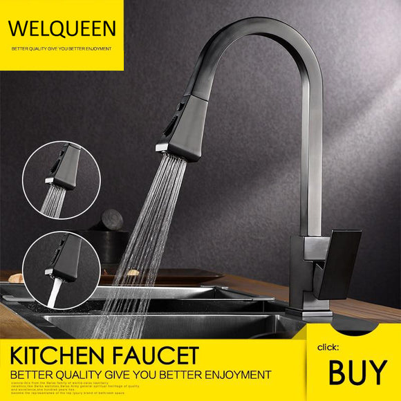 Free Shipping Brass Pull Out Kitchen Faucet Hot and Cold Water 360 Degree Rotation Stretch Pull Down Sprayer Kitchen Faucet - WELQUEEN