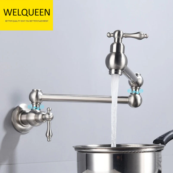 Free Shipping Brass Rotating Folding Faucet Delicate Double Switch Kitchen Faucet Wall Mounted Cold Water Tap - WELQUEEN