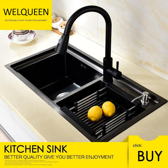 Free Shipping Stainless Steel Black DoubIe Under Mounted Kitchen Sink Set With Pull Out Faucet Double Layer - WELQUEEN