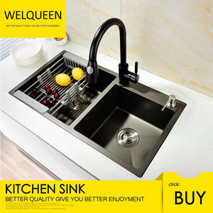 Free Shipping Stainless Steel Black DoubIe Under Mounted Kitchen Sink Set With Pull Out Faucet Not Sticky Oil For Kitchen - WELQUEEN