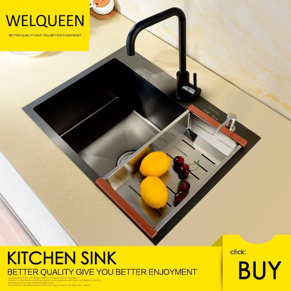 Free Shipping Stainless Steel Black Single Under Mounted Kitchen Sink Set With Kitchen Faucet Not Sticky Oil For Kitchen - WELQUEEN