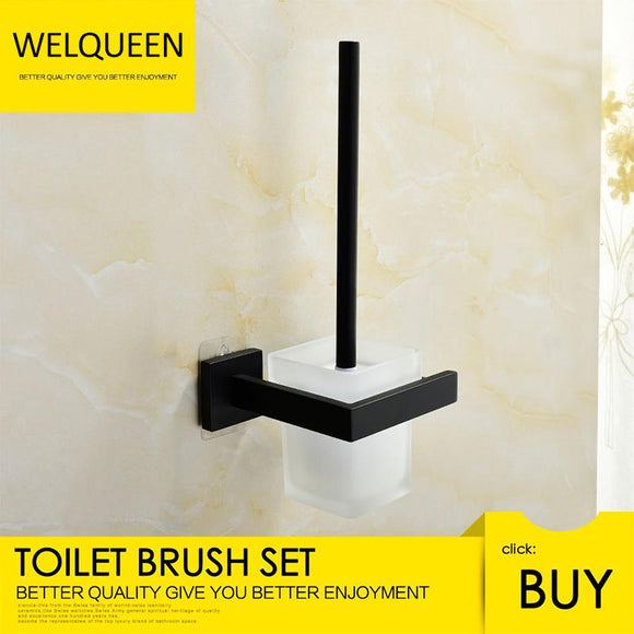 Free Shipping Stainless Steel Black Toilet Brush with Holder Wall Mounted Self Adhesive and Drilling Toilet Brush Set - WELQUEEN