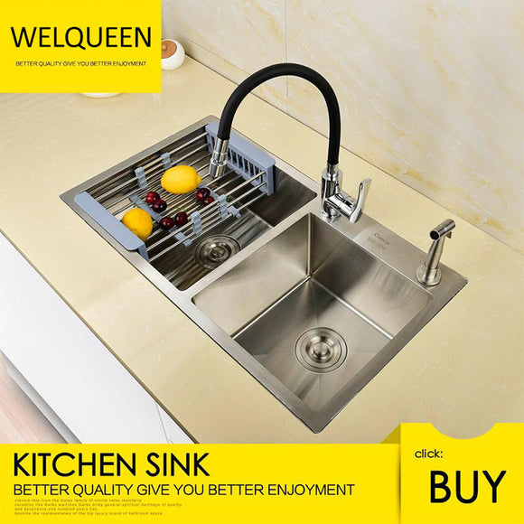 Free Shipping Stainless Steel Brushed Nickel Under Mounted Double Bowl Handmade Kitchen Sink With Faucet For Kitchen - WELQUEEN